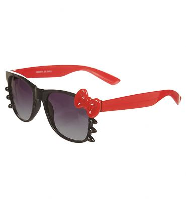 Black And Red Kitty Bow Sunglasses