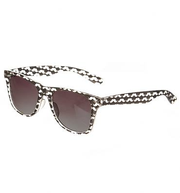 Black And White Retro Moustaches Wayfarer Sunglasses