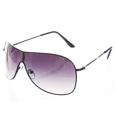 Black Aviator Wrap Visor Sunglasses