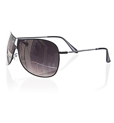 Black Frame Mirror Lens Aviator Wrap Sunglasses