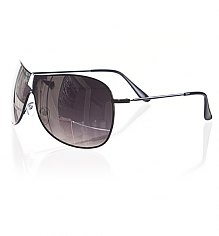 Black Frame Mirror Lens Aviator Wrap Sunglasses [View details]