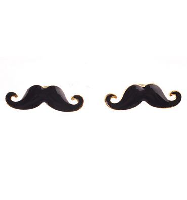 Black Moustache Stud Earrings from Chelsea Doll
