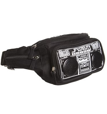 Black Retro Boombox Bum Bag With Working Speakers from Fydelity