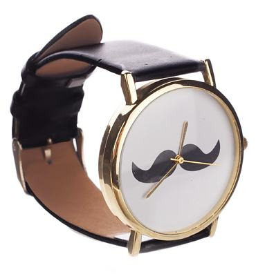 Black Strap Moustache Watch from Chelsea Doll