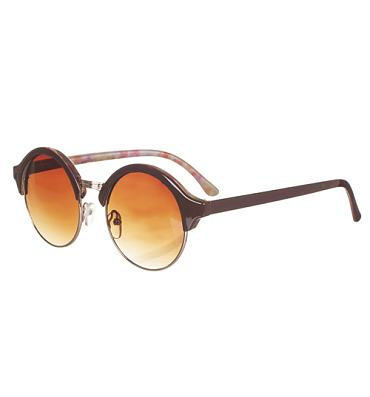 Brown Retro Round Half Frame Floral Detail Sunglasses from Jeepers Peepers