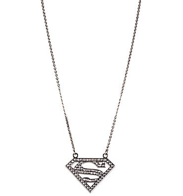 Diamante Classic Supergirl Logo Necklace