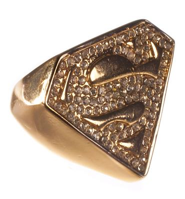 Gold Plated And Diamante Superman Logo Ring from Chelsea Doll