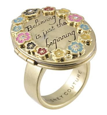 Gold Plated Believing Is Just The Beginning Locket Ring from Disney Couture