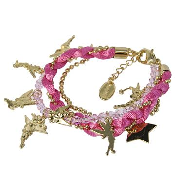 Gold Plated Multi Strand Pink Tinkerbell Charm Bracelet from Disney Couture