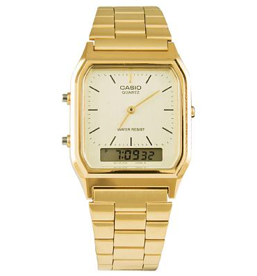 Gold Retro Dual Time Watch from Casio