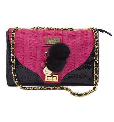 Hot Pink and Black Barbie Handbag from Clippy London