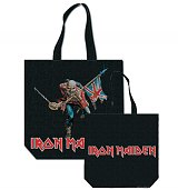 Iron Maiden Trooper Black Canvas Tote Bag With Back Print