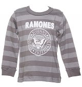 Kids Ramones Logo Long Sleeve Stripe T-Shirt from Amplified Kids