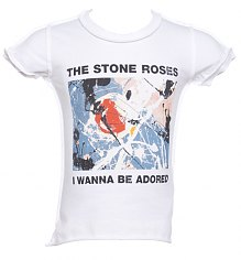 Kids Stone Roses Wanna Be Adored White T-Shirt from Amplified Kids [View details]