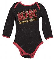 Kids Black Speckle For Those About To Rock AC/DC Babygrow from Amplified Kids