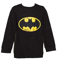 Kids Black Speckled Batman Logo Sweater from Fabric Flavours