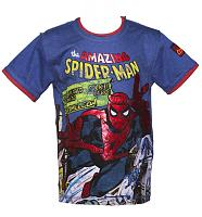 Kids Blue Amazing Spiderman Comic T-Shirt from Fabric Flavours
