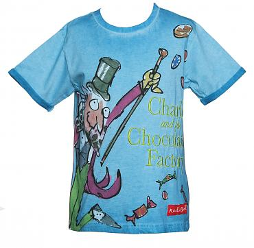 Kids Blue Charlie And The Chocolate Factory Roald Dahl T-Shirt from Fabric Flavours