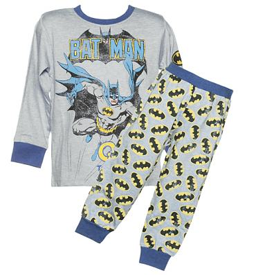 Kids Blue Marl Batman Long Sleeved Pyjamas from Fabric Flavours