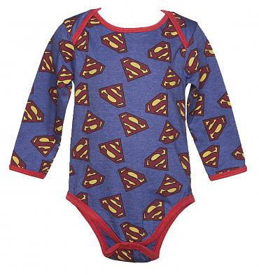 Kids Blue Marl Repeat Logo Superman Babygrow from Fabric Flavours