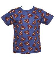 Kids Blue Marl Repeat Logo Superman T-Shirt from Fabric Flavours