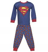 Kids Blue Marl Superman Logo Pyjamas from Fabric Flavours
