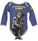 Kids Blue Marl Yoda Hungry Star Wars Babygrow from Fabric Flavours