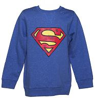Kids Blue Speckled Superman Logo Sweater from Fabric Flavours