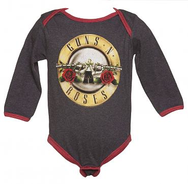 Kids Charcoal Marl And Red Guns N Roses Logo Babygrow from Amplified Kids