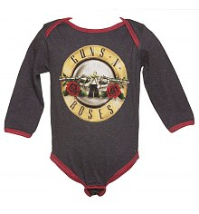 Kids Charcoal Marl And Red Guns N Roses Logo Babygrow from Amplified Kids [View details]