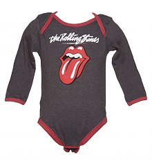 Kids Charcoal And Red Licks Tongue Rolling Stones Babygrow from Amplified Kids [View details]