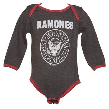 Kids Charcoal And Red Ramones Logo Babygrow from Amplified Kids
