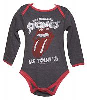 Kids Charcoal And Red US Tour 76 Rolling Stones Babygrow from Amplified Kids