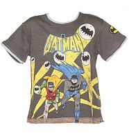Kids Dark Grey Marl Batman and Robin Run T-Shirt from Fabric Flavours