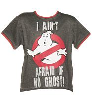 Kids Dark Grey Marl Ghostbusters I Aint Afraid Of No Ghost T-Shirt from Fabric Flavours