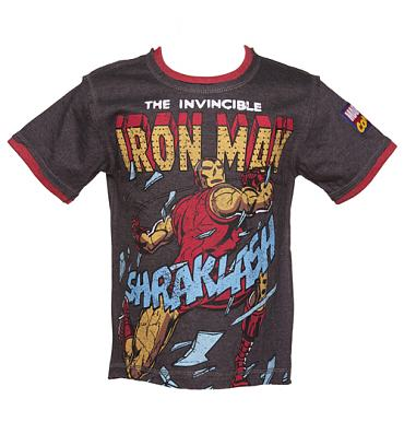 Kids Dark Grey Marl Iron Man T-Shirt from Fabric Flavours