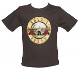 Kids Grey Marble Washed Guns N Roses Logo T-Shirt from Amplified Kids