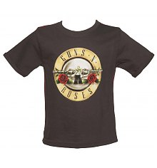 Kids Grey Marble Washed Guns N Roses Logo T-Shirt from Amplified Kids [View details]