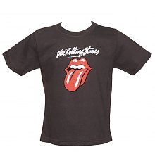 Kids Grey Marble Washed Licks Tongue Rolling Stones T-Shirt from Amplified Kids [View details]