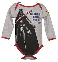 Kids Grey Marl Darth Vader Force Star Wars Babygrow from Fabric Flavours