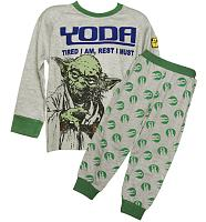 Kids Grey Marl Star Wars Yoda Long Sleeved Pyjamas from Fabric Flavours