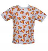 Kids Light Blue Marl Repeat Logo Superman T-Shirt from Fabric Flavours