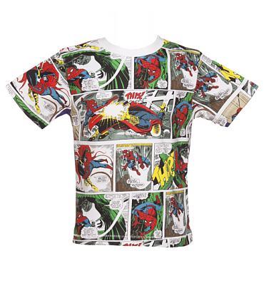 Kids Multi Retro Spiderman Comic Strip T-Shirt from Fabric Flavours