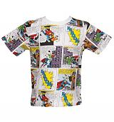 Kids Multi Retro Superman Comic Strip T-Shirt from Fabric Flavours