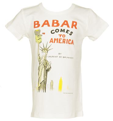 Kids Off White Babar Comes To America Vintage Cover Print T-Shirt from Out Of Print