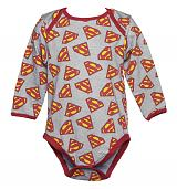 Kids Pale Blue Marl Repeat Logo Superman Babygrow from Fabric Flavours