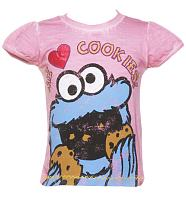 Kids Pink Cookie Monster Me Love Cookies T-Shirt from Fabric Flavours