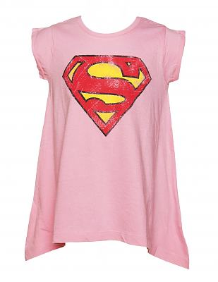 Kids Pink Draped Hem Supergirl T-Shirt from Fabric Flavours