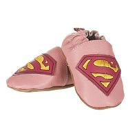 Kids Pink Leather Supergirl Booties from Fabric Flavours