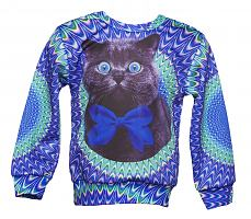 Kids Psychedelic Crazy Cat Jumper from Mr Gugu & Miss Go